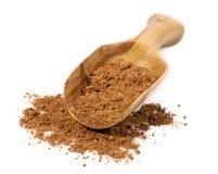Kakaowy proszek w drewnianej miarce Zdjęcie Stock