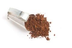 Kakaowy proszek w miarkę fotografia stock