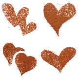 kakaowy pyłu serce odizolowywający kształt Zdjęcia Royalty Free