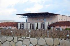 Kakheti, 3 Georgië-Maart, 2015: Kinzmarauliwijnmakerij - productiewinkel, tanks en wijngaard georgië Royalty-vrije Stock Afbeelding