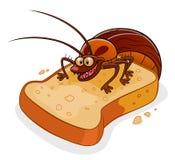 Kakkerlak op het brood vector illustratie