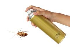 Kakkerlakkennevel met aërosols over witte achtergrond worden geïsoleerd die Royalty-vrije Stock Afbeeldingen