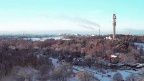 Kaknästornet winter/spring. Kaknästornet filmed with a Drone, Mavic 2 Pro. 4K 3840x2160, 29,97 fps, 48 Mbps. D-log, color graded stock footage