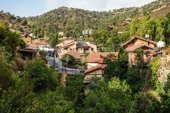 Kakopetria, sławna turystyczna wioska w północnej stronie Tr Zdjęcia Stock