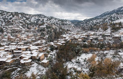 Kakopetria village during winter Troodos Cyprus Stock Photos