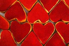 Kakor för dag för valentin` s Hjärta formade kakor för dag för valentin` s Röd och rosa hjärta formade kakor Bakgrund för dag för Royaltyfri Fotografi