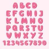 Kakor in för färg för rosa färger för alfabetkakamat ställde smakliga med glasyrvektorillustrationen Isolerad texturerad bokstavs royaltyfri illustrationer