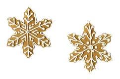 Kakor för julsnöflingapepparkaka Royaltyfria Bilder