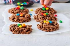 Kakor för rede för chokladfågel` s dekorerade med färgrika godisar på Arkivfoto