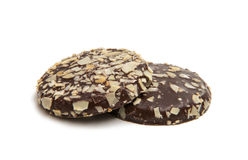 Kakor i isolerad choklad Arkivfoto