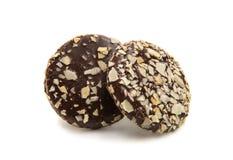 Kakor i isolerad choklad Royaltyfri Fotografi