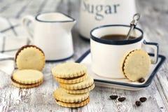Kakor med chokladhasselnötkräm royaltyfria bilder