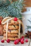 Kakor med cranberries white för julgåvaisolering Den lantliga stilen Royaltyfria Bilder
