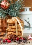 Kakor med cranberries white för julgåvaisolering Den lantliga stilen Arkivfoton