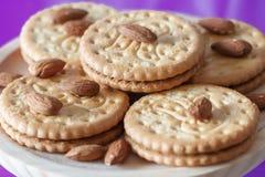 Kakor med mandlar och choklad Royaltyfri Foto