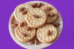 Kakor med mandlar och choklad Royaltyfria Bilder