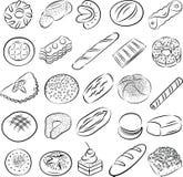 Kakor och bröd stock illustrationer