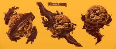 Kakor och chokladfärgstänk vektor 3d stock illustrationer