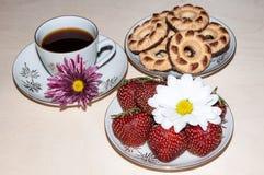 Kakor och jordgubbar för kaffekopp Arkivfoto