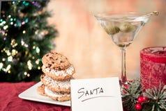 Kakor och martini för santa Arkivbild