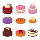 Kakor ställde in symboler i tecknad filmlägenhetstil Vektorillustrationsamling av ljusa färgrika kakor med choklad och kräm royaltyfri illustrationer