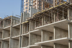 Kakrkas tall building close-up. Assembling formwork for floor slabs Stock Image