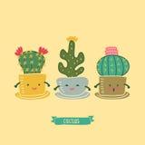 Kaktuns blommar familjen Royaltyfri Illustrationer