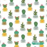 Kaktuns blommar familjen Vektor Illustrationer