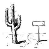 Kaktuns och undertecknar in dendrog öknen också vektor för coreldrawillustration Fotografering för Bildbyråer