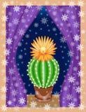 Kaktuns v?xer i huset p? f?nsterbr?dan V?xten ?r exotisk, med en h?rlig blomma Och utanf?r f?nstret i royaltyfri illustrationer