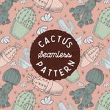 Kaktus-Hand, die nahtloses Muster zeichnet lizenzfreie stockfotos