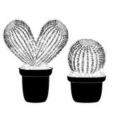 Kaktus heart shaped pot cactus tattoo sign for t-shirt, card valentine day, banner isolated cacti front view in ceramic pot on royalty free stock photos