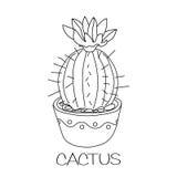 Kaktus i blomkruka royaltyfri illustrationer