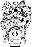 Kaktus-Liebes-einfaches Gekritzelschwarzweiss lokalisiert stockfoto