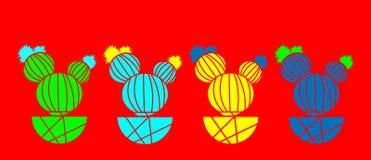 Kaktus-Mode-Bühnenbild Minimales Stillife Modische helle Farben Bunte Stimmung auf rotem Hintergrund Vektor Art Gallery Fashion vektor abbildung