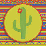 Kaktus na wzorzystym tle Fotografia Royalty Free