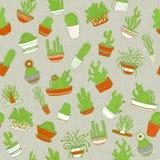 kaktus odizolowane zioło Bezszwowy tło rysunkowy wręcza jej ranek bielizny jej ciepłych kobiety potomstwa również zwrócić corel i Obraz Royalty Free