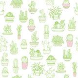 kaktus odizolowane zioło Bezszwowy tło rysunkowy wręcza jej ranek bielizny jej ciepłych kobiety potomstwa również zwrócić corel i Fotografia Royalty Free