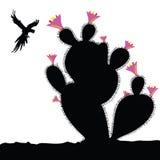 Kaktus und Papagei in der Fliegenillustration Stockbilder