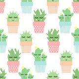 Kaktus w ślicznych garnków bezszwowym wzorze Prosta kreskówki rośliny wektoru ilustracja ilustracja wektor