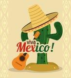 Kaktus z kapeluszową ikoną Meksyk kultura gdy dekoracyjna tło grafika stylizował wektorowe zawijas fala Obrazy Stock