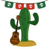 Kaktusa i gitary ikona Meksyk kultura gdy dekoracyjna tło grafika stylizował wektorowe zawijas fala Zdjęcia Stock