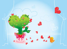 kaktusförälskelse Stock Illustrationer