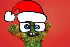Kaktushipsterman med den santa hatten Tropiskt julbegrepp Minsta rolig konst arkivfoto