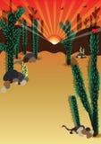 Kaktuslandsikt Blank_eps Royaltyfri Bild