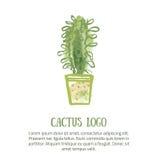 Kaktuslogobegrepp med grön vattenfärgbakgrund Gullig modetygdesign för barnkammare eller kläder stock illustrationer