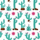 Kaktusowa ręka rysujący wektorowy bezszwowy wzór Ręka rysujący bezszwowy powtórki tło z roślinami, kamieniami i słońcem w mennici ilustracja wektor
