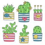 Kaktusowe tłustoszowate rośliny w garnku doodle wektoru set Fotografia Stock
