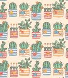 Kaktusowego aloesu tłustoszowatego doodle bezszwowy wzór Obrazy Royalty Free