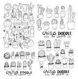 Kaktusowego doodle tła linii nakreślenia ilustracyjny tapetowy styl ilustracja wektor